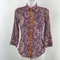 Elizabeth and James Purple Print Button Down Long Sleeve Blouse Size XS