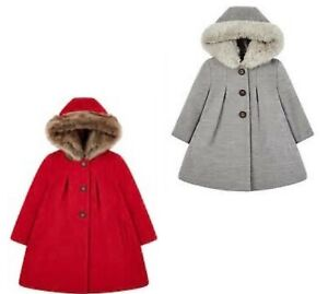 MOTHERCARE Girls Baby Coat Grey Red Fur Hood Button Lined Traditional Wool Look