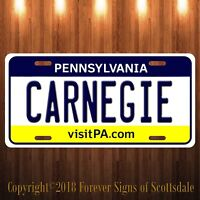 Carnegie Pennsylvania City/College State Aluminum Vanity License Plate New