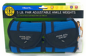 Gold's Gym 5 Lb. Pair Adjustable Ankle Weights Sculpt & Tone lower body GG-2842R