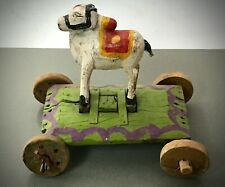 ANTIQUE / VINTAGE INDIAN WOODEN TOY. NANDI THE BULL ON WHEELS. SHIVA'S VEHICLE.