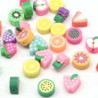 500pcs Mixed Color Handmade Polymer Clay Fruit Theme Beads for DIY Craft Charms