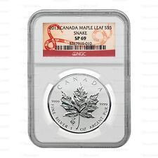 NUOVO 2013 Argento Canada Maple Leaf, Serpente CORONA MARK 1oz NGC SP69 livellata soletta