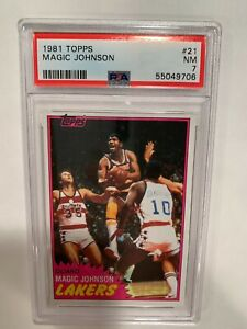 1981 Topps #21 Magic Johnson, First Solo Card Los Angeles Lakers PSA 7 NM