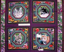 "Wild Wings Fabric Panel - Kitten Cat Nap Pillowcase Purple Springs OOP 34"""