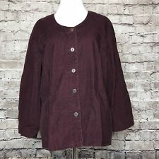 Women's FLAX Burgundy Red Button Down Corduroy Cotton Jacket Top Size Small