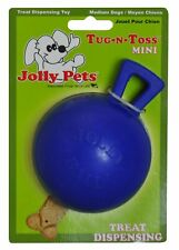 Jolly Pets Tug N Toss Rubber Treat Dispensing Interactive Toy Mini Blue 3 inch