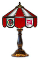 """Miller High Life Girl On Moon Beer Stained Glass Mirror Table 14"""" Light  Lamp"""