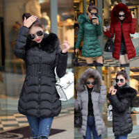 Womens Winter Warm Hooded Long Jacket Fur Down Coat Long Parka Trench Outwear e1