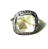 Vintage Gift Jewelry Natural Rosecut Polki Pave Diamond 925 Sterling Silver Ring