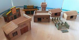 Konvolut Westernhäuser VERO Elastolin Western Fort DDR Indianer Cowboys Holz