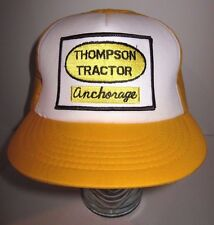 Vintage THOMPSON TRACTOR 80s Anchorage Alaska White Yellow Gold Hat Cap Snapback