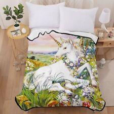 3D Unicorn Grass Velvet Plush Throw Blanket Sherpa Bedding Thin Quilt 60×80in