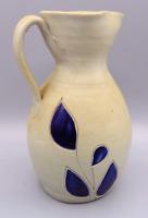 """Vintage Large Williamsburg Pottery Blue Flower Creamer Pitcher Salt Glaze 7 1/2"""""""