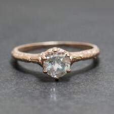 Art Deco .44ctw White Sapphire 14k Rose Gold/925 Sterling Silver Filigree Ring