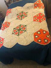 """VTG 70's White Orange Hand Made Crocheted Hexagon Blanket Throw 55""""x63"""" RETRO"""