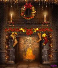 Christmas Fireplace Vinyl Photography Backdrop Studio Photo Background 5X7FTSD99