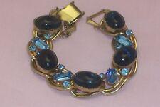 Vintage Saphire Blue Big Cabochon & Medium Blue Emerald Cut Rhinestone Bracelet