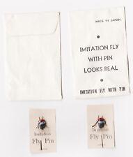 (2) VINTAGE 1950's DIME STORE NOVELTY IMITATION FLY PIN'S IN ORIG.PKG'S  JAPAN