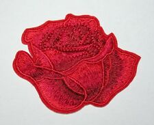 Red Rose Embroidery Sew, Iron On Patch for Clothes, Jeans, Fabric Applique DIY