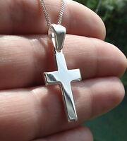 Solid 925 Sterling Silver Plain Cross Crucifix Pendant 29 mm x 17 mm Jewellery