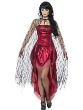 Vestito per Halloween da Donna, in Pizzo Gothic Mantello con Cappuccio Nero