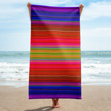 Colorful Stripes Bath or Beach Towel Striped Hot Pink Purple