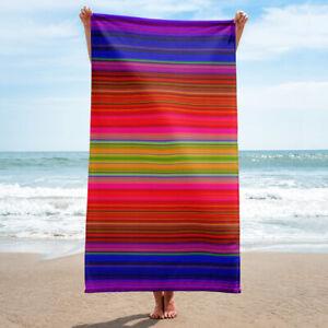 Colorful Stripes Bath or Beach Towel Striped Hot Pink Purple