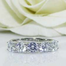 Engagement Ring 14k White Gold Plated 2.Ct Round Cut Moissanite 5 Stone Classic