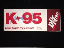 Dr Pepper K95 FM KNFO Radio Waco Texas Bumper Sticker 1989