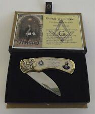 New Masonic Mason Collectors Knife George Washington Legendary Free Mason