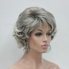 light gray and dark root Short Synthetic Hair Full Women's Wig For Everyday