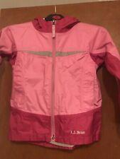 LL Bean girls windbreaker jacket pink hooded full zip Size 5/6