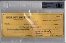 BECKETT-BAS WILLIAM W. WIRTZ & JACK EVANS SIGNED 1962 BLACKHAWKS CHECK #5458