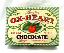 Vtg Long's Ox-Heart Sweet Milk Chocolate Empty Candy Box Oswego NY Early 20th C.