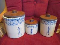 Lot of 3 Roseville Pottery Canister crocks Blue Spongeware w Leaves & Wood Lids