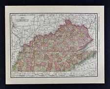 1911 McNally Map - Kentucky Tennessee Nashville Louisville Lexington Knoxville