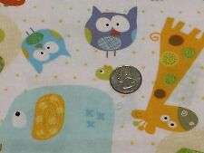 Fabric Zoo Animals on Yellow Dots on Cream Cotton 1 Yard S