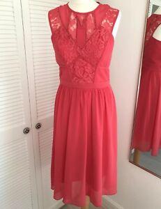 Spotlight By Warehouse Red Midi Dress Size 10 Lace Panel Sleeveless Valentine