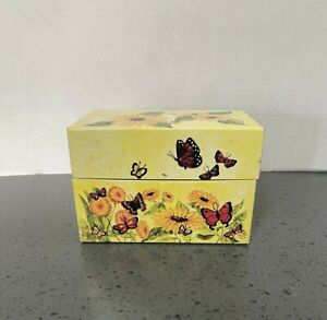 Vintage Tin Recipe File Box Butterfly Sunflowers Yellow Index Card Syndicate Mfg