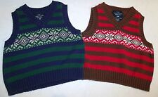 2 Pc Set Fair Isle Sweater Vests Blue Green Red Brown Cotton 3-6 Month Twins C-2