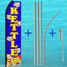 KETTLE CORN SWOOPER FLAG + 15' TALL POLE + MOUNT KIT Flutter Feather Banner Sign
