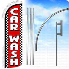 Car Wash - Windless Swooper Flag Kit Feather Banner Sign - checkered rq