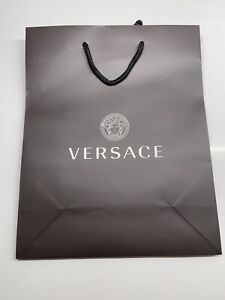 """Versace 12""""x9.5""""x4.5"""" Empty Black SHOPPING GIFT Paper BAG Logo for Bag or Shoes"""