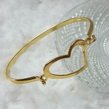Stainless Steel Heart Bangle in Gold