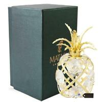 24K Gold Plated Mini Pineapple Ornament with Clear Crystals by Matashi
