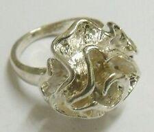 bague fleur en relief ancien bijou vintage en argent pur 835 millième   - T.54 p