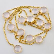 Heavy Plated Gold Vermeil Rose Quartz Gemstone Connector Necklace 25 inch