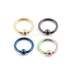 "14G 3/8"" 16G 5/16"" Closure Ball Titanium Plated Steel Captive Bead Rings"