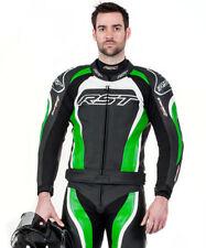 Combinaisons de motocyclette vertes en cuir